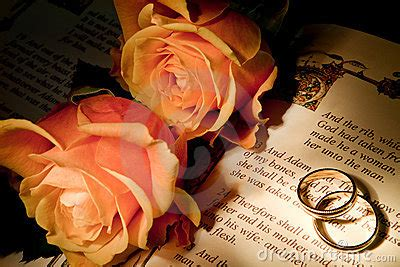 Wedding Rings On A Bible With The Genesis Text Royalty