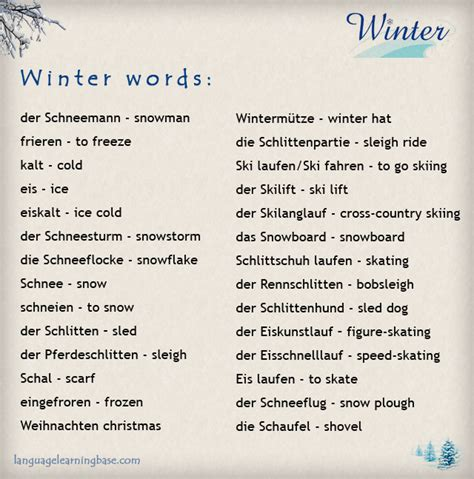 German Winter Vocabulary - learn German,words,vocabulary